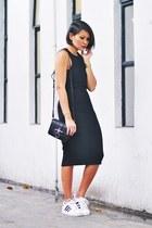 black dress - black bag - white Adidas sneakers