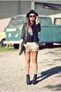 Black-leather-jacket-cream-crochet-shorts-black-cropped-crow-top