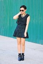 brocade skirt - buckled Zara boots - number one Karen Walker sunglasses