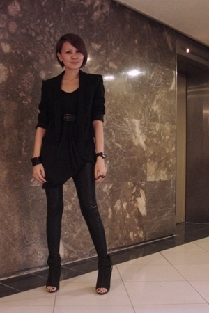 black Topshop top - black Zara blazer - black Topshop liquid leggings - black Za