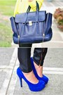 Yellow-neon-top-black-waxed-jeans-navy-pashli-phillip-lim-bag