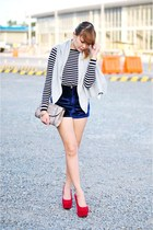 ruby red platform pumps - black striped sweater - blue velvet shorts