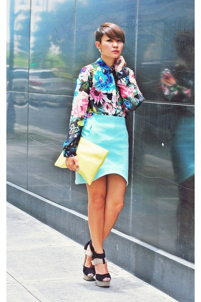 blue sheer floral shirt - black courtesy of Feet For A Queen shoes