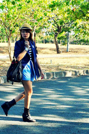 Love Vintage Manila blazer - blue Dark White shorts - black Soule Phenomenon sho