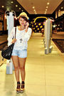 White-looking-for-lola-top-blue-zara-shorts-brown-aldo-wallet-black-depart