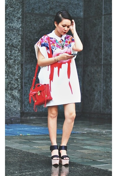 off white lips print dress - red mini pashli 31 Phillip Lim bag