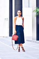 red nano coquelicot Celine bag - white cropped top - navy culottes pants