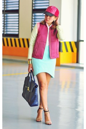 aquamarine asymmetrical H&M skirt - maroon jacket