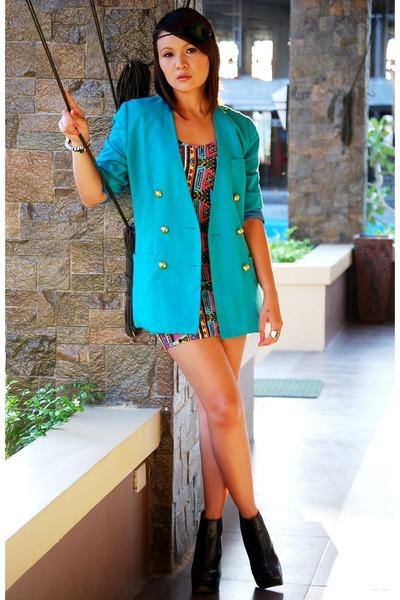 turquoise blazer - black Topshop shoes - aztec print Topshop dress