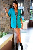 turquoise blazer - black Topshop shoes - aztec print Topshop dress