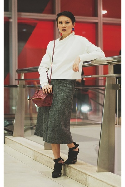 black bianca Alexander Wang shoes - white neoprene sweater