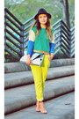 Yellow-neon-yellow-jeans-aquamarine-sweater-silver-clutch-gold-dot-purse