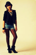 black boots - blue studded denim Zara shorts - heart tights Topshop