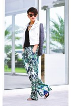 white faux leather jacket - green palm tree print pants - black tank top