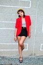 Red-blazer-black-shorts-street-beat-boutique-black-zara