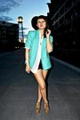 Aquamarine-thrifted-blazer-ivory-thrifted-shirt-black-shorts-jeffrey-campb