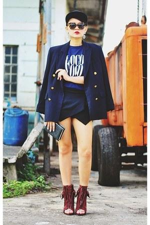 black blazer - brick red freja Alexander Wang boots - black origami skort shorts