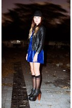 blue velvet dress - black lita Jeffrey Campbell boots - black leather jacket