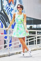 chartreuse neon floral dress - ruby red sunglasses