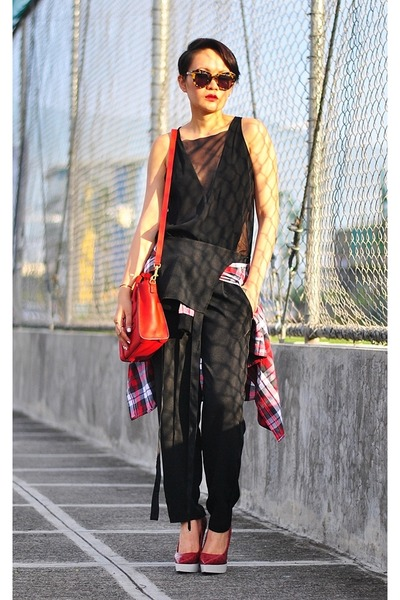 black mesh top - ruby red nano Celine bag - black romper