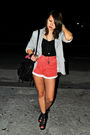Red-second-shop-shorts-black-second-shop-top-gray-details-blazer-black-sou