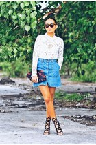 white lace top - brick red clutch bag - blue denim skirt