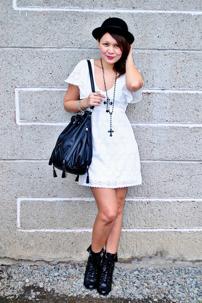 white crochet thrifted dress - black Forever 21 boots - black bag Zara