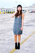 heather gray knit dress - black ala bcbg Soule Phenomenon wedges