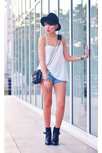 white summer top - black buckled boots - black mini brenda Alexander Wang bag
