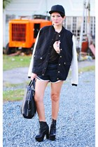 black jacket - black emile tote Alexander Wang bag - black running shorts