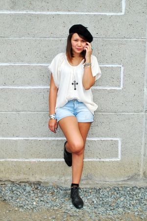 beige cult femme top - black studded Forever 21 boots - blue Zara shorts
