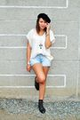 Beige-cult-femme-top-blue-zara-shorts-black-forever-21-boots-black-socks-