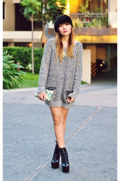 black mary ellen Chloe Sevigny x OC boots - heather gray sweater knit dress