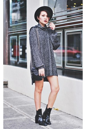 charcoal gray oversized sweater - black chelsea boots - black porkie pie hat