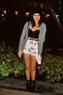 Gray-zara-cardigan-the-spotted-shorts-black-charles-keith-boots-black-fo