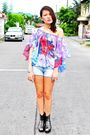 Second-shop-top-black-soule-phenomenon-shoes-blue-zara-shorts