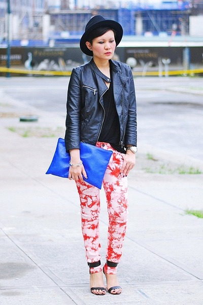 black faux leather Zara jacket - red tie-dyed jeans - blue Made U look purse