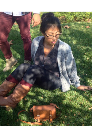maroon Forever 21 socks - brown cowboy boots Wet Seal boots