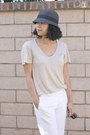 Feathered-target-hat-aldo-sunglasses-beige-club-monaco-t-shirt-white-h-m-p