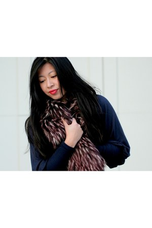 puff sleeve shirt - faux fur World Market scarf