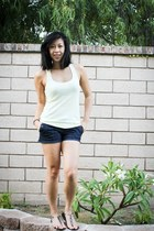 jeans Wet Seal shorts - racerback Club Monaco t-shirt - clear sandals