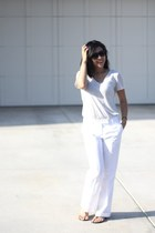 white white H&M pants - beige Club Monaco shirt - Aldo sunglasses