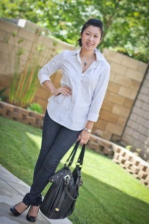 thrifted vintage purse - polka dot Club Monaco shirt