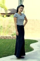 striped Zara shirt - denim skirt - purple Sechelles wedges