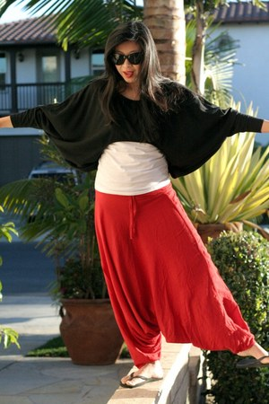 cropped Toska sweater - Aldo sunglasses - red harem pants - flip flop Old Navy s