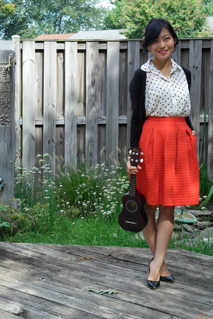 red midi H&M skirt - white polka dot Forever 21 blouse - black H&M cardigan