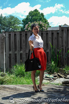 red a-line H&M skirt - black nylon Prada bag - black pointed toe Zara heels