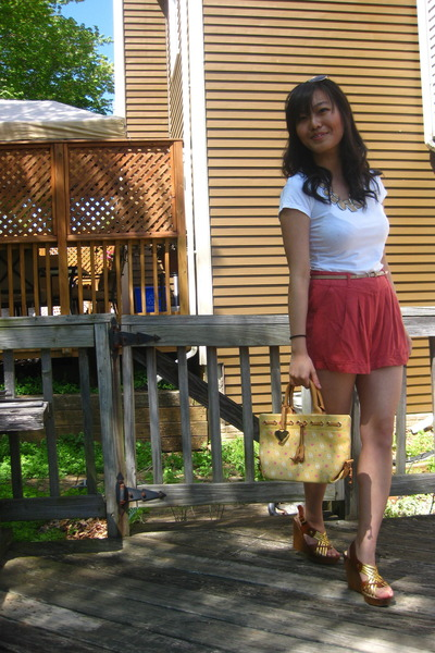 coral Forever 21 shorts - yellow Dooney and Bourke bag - gold no brand sandals