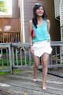 Coral-clutch-forever-21-bag-white-skort-zara-shorts