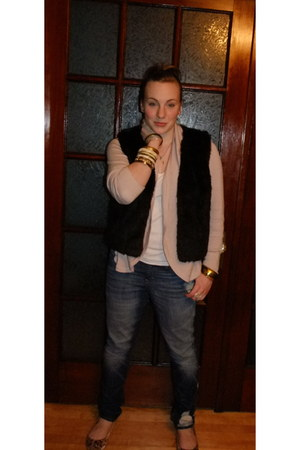 blue Gap jeans - dark brown vest - light pink Gap cardigan